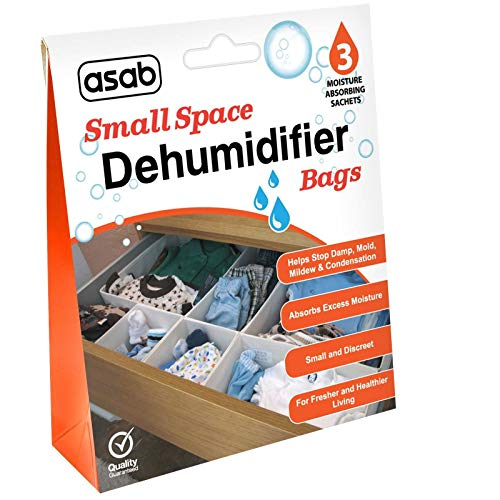 ASAB Wardrobe Dehumidifier Bags   Drawers Dehumidifying Sachets   Small Spaces Moisture Trap   Damp Absorber with Crystals   Humidity Catcher   Wet Remover - 6 Pack (18 Bags)