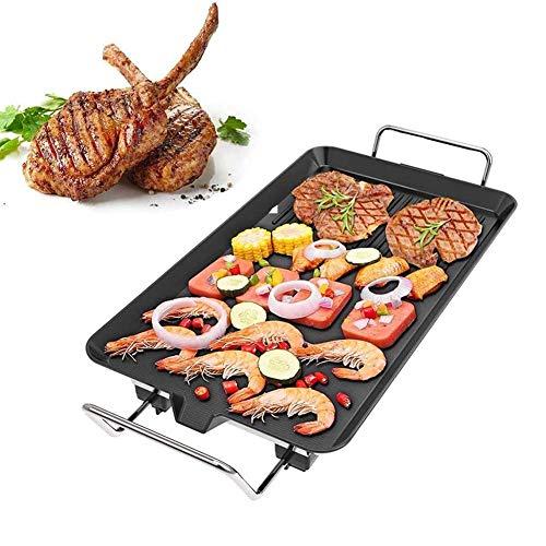 L.TSN Plancha eléctrica Antiadherente para cocinar, Plancha Teppanyaki eléctrica, Cocina rápida de 1400-1700 W con Control de Temperatura, panqueques, Salchichas, Grande + Diez Accesorios