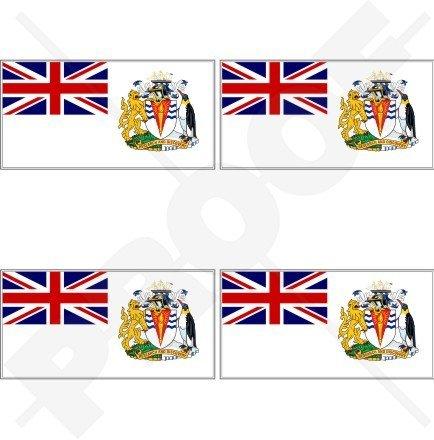 Territoire antarctique britannique Drapeau UK 5,1 cm (50 mm) en vinyle Bumper Stickers, Stickers x4