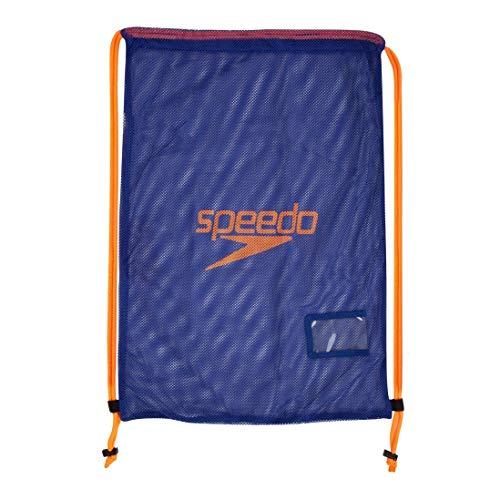 Speedo Equipment Mesh Bag Mochila, Unisex Adulto, Azul Ultramar/Naranja Fluorescente, One Size