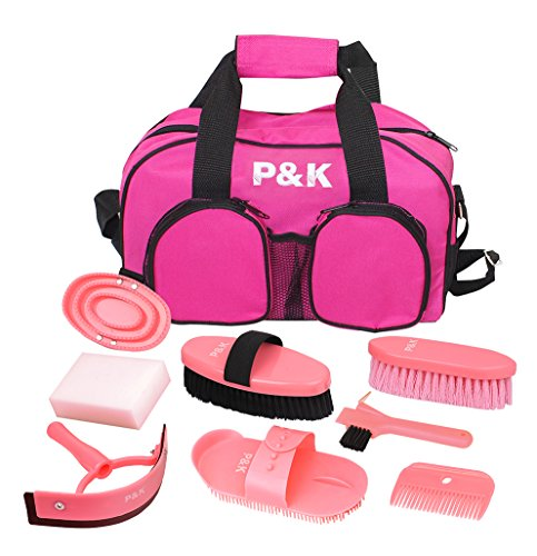 P&K Set di Strumenti Rosa per la Cura del Cavallo per la Pulizia dei Cavalli