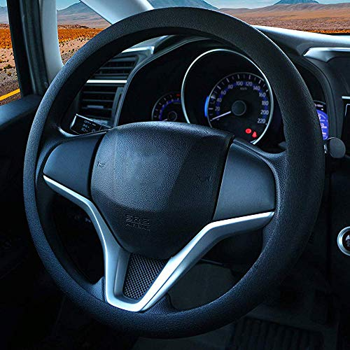 King Company Odorless Premium Quality Soft Silicone Leather Texture Steering Wheel Cover Anti-Slip Car Decoration (Black1)