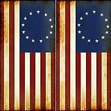Speed Demon Hot Rod Shop Cornhole Wraps Besty Ross Flag American Flag Rustic Flag Cornhole Laminated Decal Wraps (Set of 2) CHB