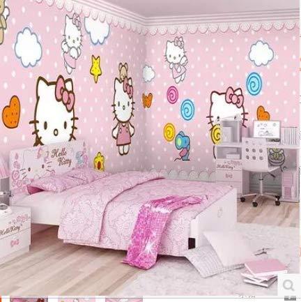 3D Vlies Tapete3D Kinderzimmer Cartoon Tapete Mädchen Rosa Schlafzimmer Tapete Hello Kitty Princess Room Theme Kindergarten Wandtuch, 120 * 100