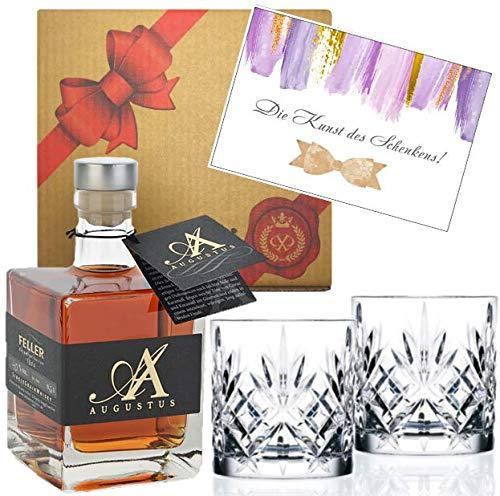 DAS Whisky-Geschenk für Kenner | 6-fach gebrannt | Geschenk-Set | Augustus Single Grain Whisky aus Deutschland | Geschenk-Box -inkl. 2 Whisky-Tumblern