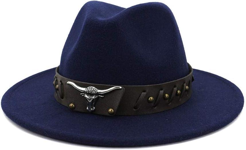 LIRRUI Autumn Winter Cotton Men Women Gentleman Felt Hat Fedora Hat Jazz Hat Fashion Jazz Party Hat Animal Metal Cowboy (Color : Navy Blue, Size : 59-60cm)
