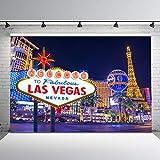 Avezano Las Vegas Backdrop Welcome to Fabulous Las Vegas Night Photo Background 7x5ft Vinyl Las Vegas Casino Sign City Backdrops Photoshoot Props