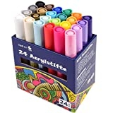 Steine bemalen Stifte Set, 24 Farben Acrylstifte wasserfest