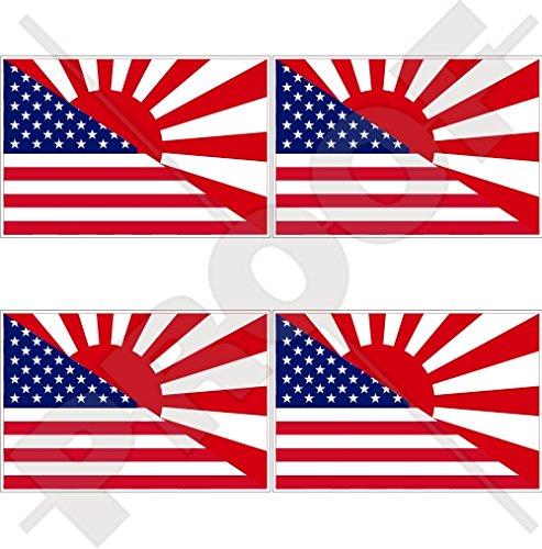 Lot de 4 autocollants en vinyle pour casque Motif drapeau américain et japonais 50 mm