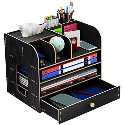 Z-SEAT Organisateur de Bureau, Organisateur de Bureau en Bois avec boîte de Rangement pour Porte-Crayon pour Stylo à tiroir pour Bureau (Noir)