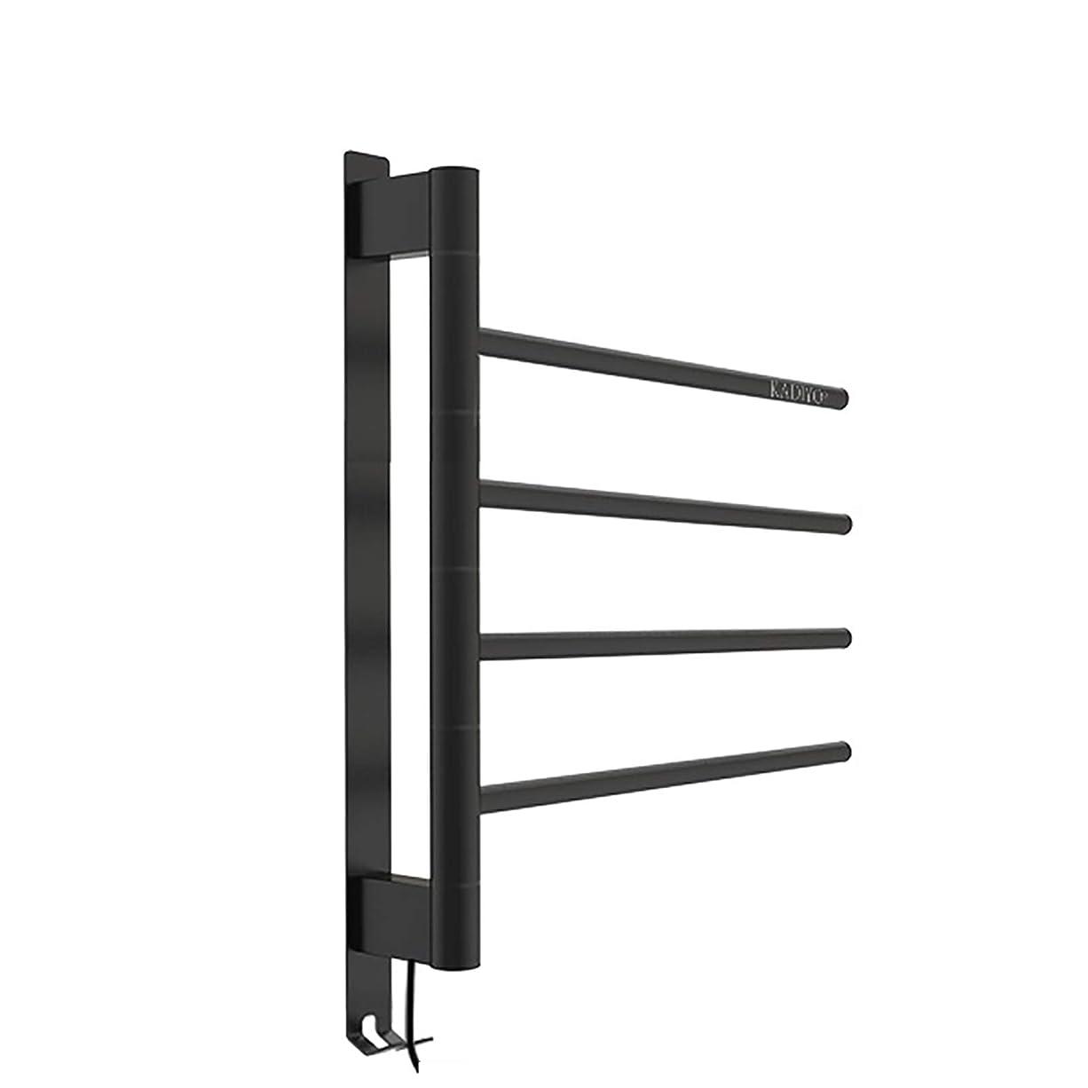 メタルライン洗練ナンセンス電気タオルラック、180度回転可能な無孔バスルーム304ステンレス鋼加熱タオルラック、フック付き、炭素繊維乾式加熱IPX4防水等級(黒)