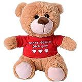 TE-Trend Teddybär Teddy Plüsch Bär Plüschteddybär Kuscheltier T-Shirt Spruchbär 25cm Geschenk Hellbraun Danke, DASS es Dich gibt