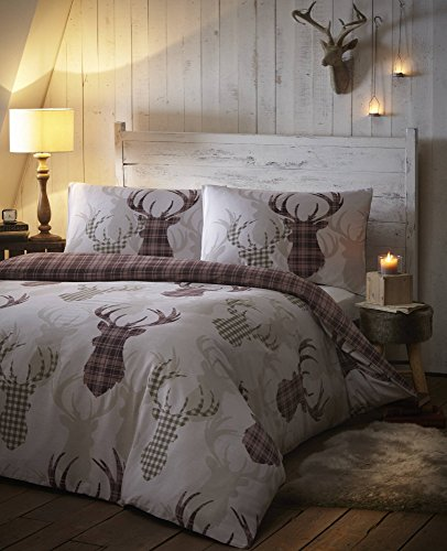De Cama Tartan Check Stag King Duvet Quilt Cover Bedding Set Natural & Brown, Cotton and Polyester, King