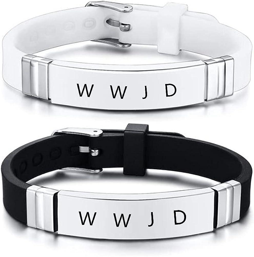 ZKXXJ WWJD HWLF Bracelet Set for Men Women,2Pcs Stainless Steel