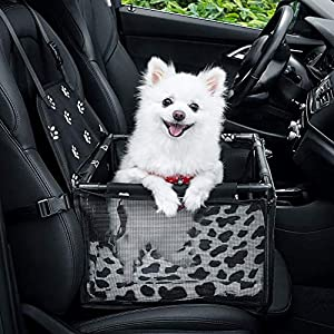 GENORTH Dog Car Seat Upgrade Deluxe Washable Portable Pet Car Booster Seat Travel Carrier Cage with Clip-On Safety Leash and Blanket,Perfect for Small Pets