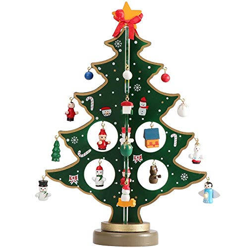 Fablcrew Christmas Tree Desktop Decoration Mini Wooden DIY Xmas Tree Ornaments Children Gift Green