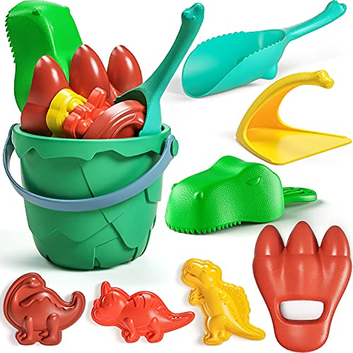 burgkidz Sand Toys Beach Toys Set, Dinosaur Theme Series Toddler Beach Toy, Volcano Bucket, Shovels, Rakes, Dinosaurs Molds, Kids Indoor Outdoor Toys for Boys Girls, Sand Toy for Toddlers Age 2 3-5 6
