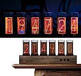 PAKASEPT LED Nixie Color Ajustable LED Reloj con Black Walnut Panel, 10.000 colores Nixie Tube Clock antes para amigos y niños
