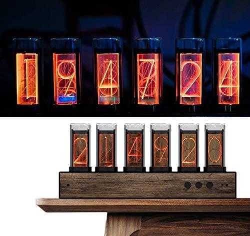 PAKASEPT LED Nixie Farbe Einstellbar LED-Uhr mit Black Walnut Panel, 10.000-farbig Nixie Tube Clock Früher für Tube Clock Geschenke für Freunde und Kinder
