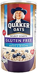 Quaker Oats Gluten Free 1-Minute Quick Oats, Breakfast Cereal, 18 Ounce Canister