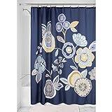 InterDesign Garden Floral SC Cortina de baño , Cortina de ducha de fijación firme , Cortinas para bañera o ducha con estampado floral , 183 x 183 cm , Poliéster de colores/azul