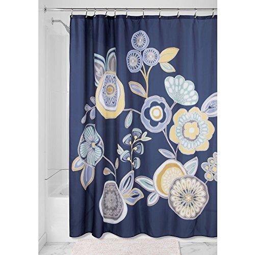 iDesign Garden Floral Duschvorhang   Designer Duschvorhang mit stabiler Aufhängung  zeitlos schöner Badewannenvorhang 183,0 cm x 183,0 cm   Polyester blau/bunt
