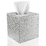 Caja de pañuelos cuadrada de cuero de poliuretano para el hogar, la oficina o el coche (tallado plateado) de Fanuk