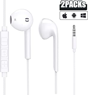 2 Pack-Apple Earbuds/Headphones/Earphones with 3.5mm Wired in Ear Headphone Plug(Built-in Microphone & Volume Control) Compatible with iPhone,iPad,Compter,MP3/4,Android etc[Apple MFi Certified]