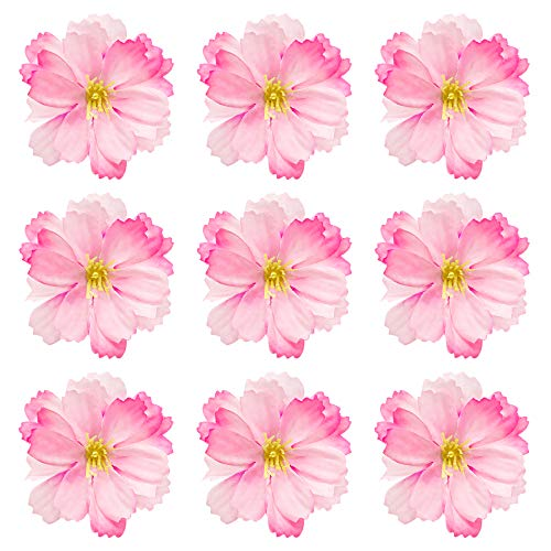 AUEAR, 50 Pack Silk Cherry Blossom Flower Heads Artificial for Bridal Hair Clips Headbands Dress DIY Accessories Wedding Party Supply Table Decorative