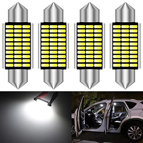 KATUR 39mm Festoon C5W Ampoules LED 6000K Blanc Canbus extrêmement Lumineux sans Erreur 6411 6413 6423 6461 DE3425 DE3425 Lumières de Porte de Plaque d'immatriculation de dôme intérieur (4pcs, Blanc)
