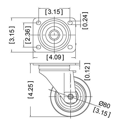 51wn+aDvJXL - YAOBLUESEA Ruedas de Transporte de transporte Ruedas cargas pesadas rollos de muebles (12 piezas Ø 50 mm, 40 kg por rueda)