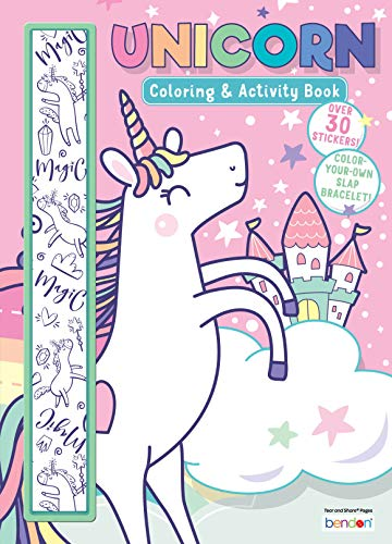 Unicorn 64 Page Coloring and Activity Book with Color Your Own Slap Bracelet