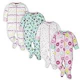 Onesies Brand Baby Girls' 4-Pack Sleep 'N Play Footies Multi Pack, Pink Sweet Treat, 0-3 Months