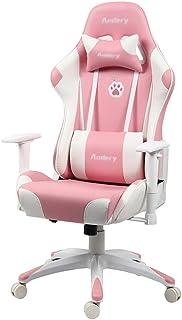 Silla Rosa para niña, Silla de Ordenador con Respaldo Alto, Silla giratoria ergonómica para Oficina, Silla para Videojuegos con reposapiés y reposacabezas (Color : Pink, Size : 70 * 70 * 124cm)