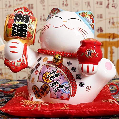WANZSC 5 pulgadas de cerámica japonesa Maneki Neko estatua de porcelana gato de la suerte caja de dinero fortuna gato Feng Shui hogar decoración de mesa regalos (B)