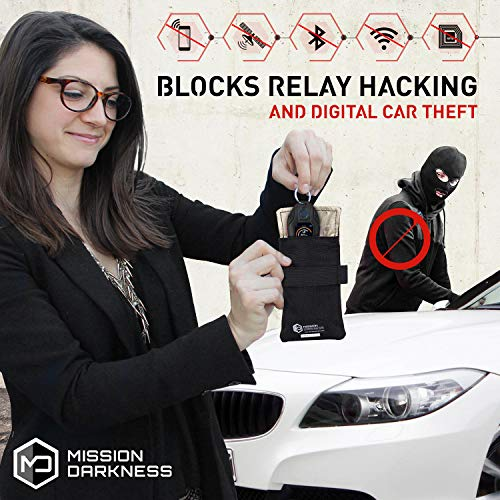 【MissionDarkness】リレーアタック対策電波遮断繊維3層構造防水スマートキーキーケース車両盗難防止MIL-SPEC取得高品質ファラデー繊維