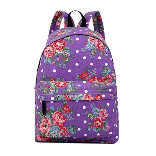 Miss Lulu Schulrucksack Studenten Rucksack Teenager Schultasche Freizeit Daypacks (Blume lila)