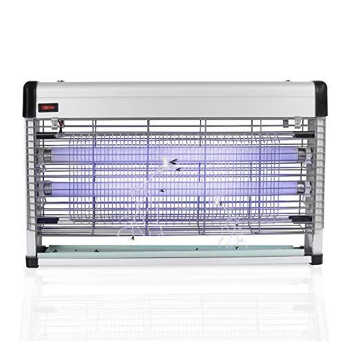 YATEK Lámpara Mata Insectos eléctrico 20w de Potencia (2x10w) Radio de acción 100m2, con Dos lámparas de Repuesto, por fín podrá librarse de los Insectos voladores con Este Mata Insectos
