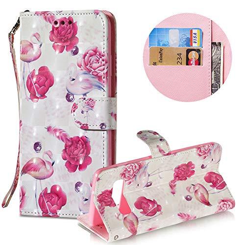 Gurt Brieftasche für Samsung Galaxy S10,Wallet Leder Handyhülle für Samsung Galaxy S10,Moiky Stilvoll 3D Flamingo Blume Muster Geprägt Klappbar Stand Handytasche
