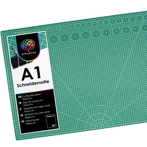 OfficeTree Schneidematte A1 selbstheilend - Grün - Schneidmatte 60 x 90 selbstheilend - Cutting Mat mit beidseitigen Rastern und Markierungen für professionelle Schnitte