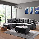 GAOPAN Sectional 5-Seater with Chaise Lounge and Ottoman for Living Room, Home Furniture Large Sofas Sets with 6 Pillows(Gray), Gray 1, Gray 1