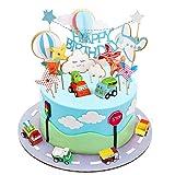 BBLIKE Toppers para Tartas, Topper de Pastel de Cumpleaños Coche + Avión + Molino de Viento + Globos de Aire Caliente + Nubes Decoraciones de Pastel, Ideal para Happy Birthday Cumpleaños Niños Party