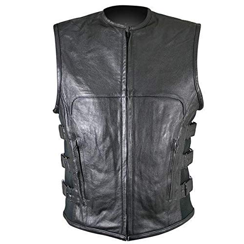 Xelement B95080 Men's 'Creeper' Black Advanced Triple Strap Design Leather Motorcycle Vest - Medium