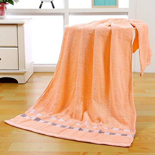 Toalla de baño Puro algodón Espesado obsequio Seguro Laboral 70 * 140 Toalla de baño a Cuadros Naranja