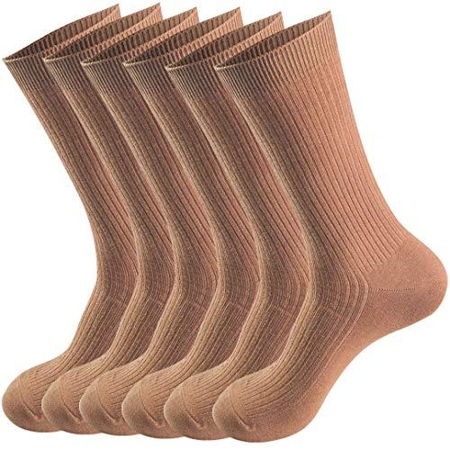 Comfy Quality Soft Breathable 100% Cotton Socks for Men & Women 6 pack (Shoe Size:Men's 5-5.5,Women's 4.5-8, Coffee)
