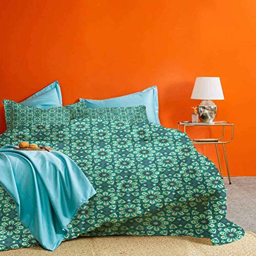 Blue Green Bedding Collection Pattern with Kaleidoscopic Motifs in Aquamarine Shades Best Hotel Luxury Bedding Teal Pale Green Dark Taupe 3 pc (1 Duvet Cover and 2 Pillow Shams) Twin Size