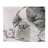 YISUMEI Decke 150x200 cm Kuscheldecken Sanft Flanell Weich Fleecedecke Bettüberwurf Schläfrige französische Bulldogge