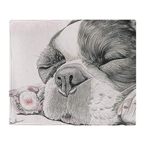 YISUMEI - miękki koc z polaru - śpiący buldog francuski, 150 x 200 cm narzuta nadaje się na sofę lub łóżko