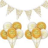 Set de 15 Piezas Decoraciones de 50 Aniversario Globos de Happy Golden 50 Anniversary Banderines de Aniversario de Oro Suminsitros de Fiesta de San Valentín Boda de Oro