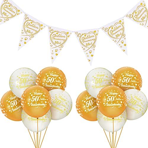 Set di 15 Decorazioni per 50 ° Anniversario Zigolo d'Oro dell'Anniversario Palloncini Oro di Buon 50 ° Anniversario Forniture per San Valentine Anniversario di Matrimonio Dorato